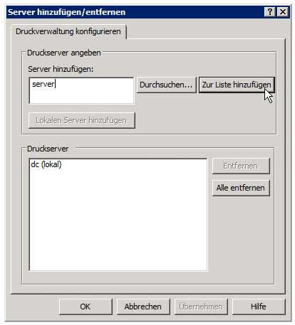 Druckverwaltung - Server hinzufügen - Server auswählen