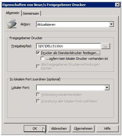 Druckverwaltung - Gruppenrichtlinie zur Druckerverteilung anlegen - Neuen Drucker hinzufügen