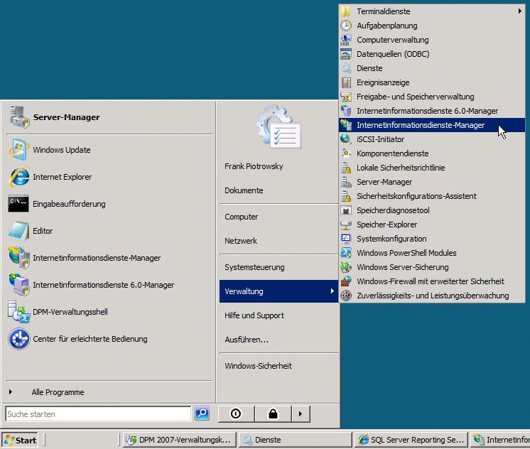 Starte IIS7 Manager