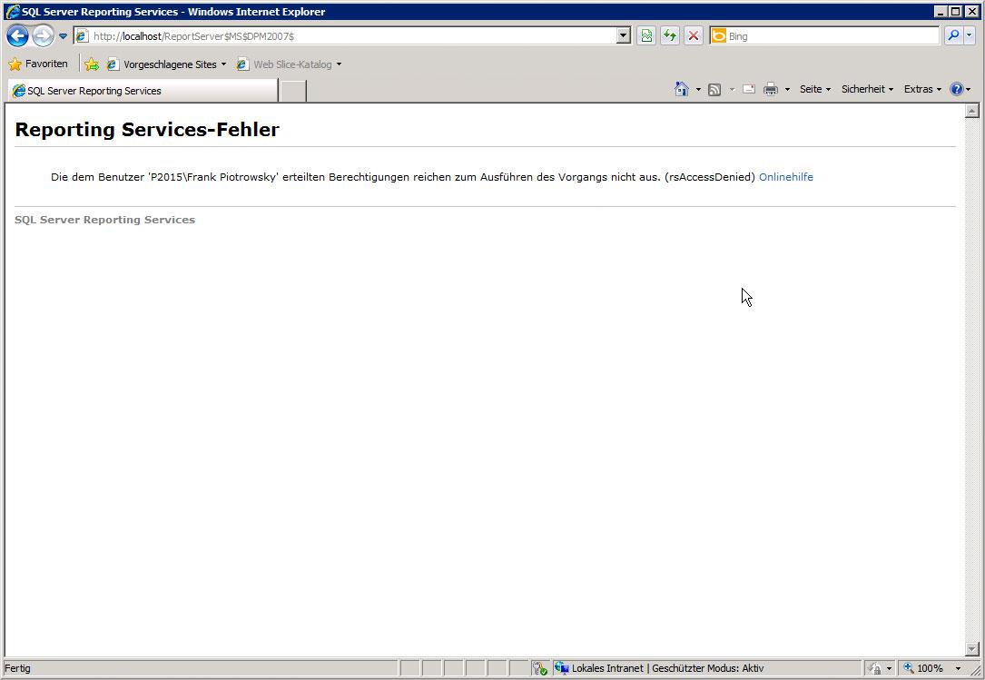 ReportServer-Website nach Korrektur