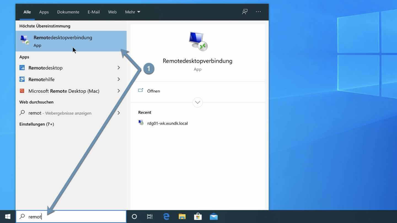 Remotedesktopverbindung starten
